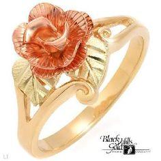 Black Hills Gold Ring Flower Rose Size 5