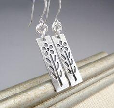 Geometric Silver Dangle Earrings Silver Flower by TouchOfSilver,