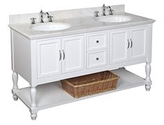 Beverly 60-inch Double Bathroom Vanity (White/White): Includes a White Cabinet with Soft Close Drawers, White Marble Countertop, and Two Ceramic Sinks
