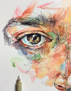 Noel Badges Pugh Figure Painting, Painting & Drawing, Silk Painting, Watercolor Illustration, Watercolor Art, Scribble Art, A Level Art, Portrait Art, Portraits