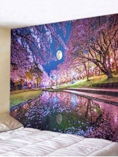 Contemporary interior design living room decor for Sakura Moon Print Tapestry Wall Art Hanging Decoration Style: Sweet Material: Polyester Feature: Removable,Washable Shape/Pattern: Moon Weight: Package Contents: 1 x Tapestry