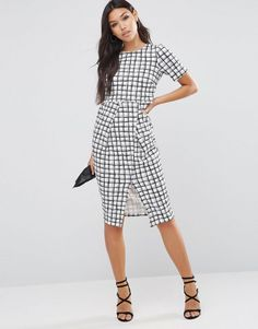 ASOS Textured Wrap Wiggle Dress In Check Print