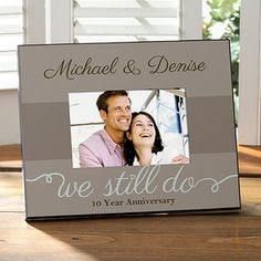 """OMG this is the cutest Anniversary Gift idea! LOVE the """"We Still Do"""" design! You can have it personalized with the couple's name and any line at the bottom - it's on sale right now for only $17.45 at PersonalizationMall! #Wedding #Anniversary"""