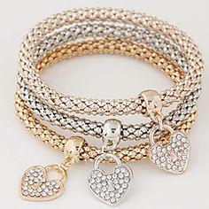 Da donna Bracciali con ciondoli Strass imitazione diamante Lega Stile semplice Di tendenza A forma di cuore Arcobaleno Gioielli 1 Set