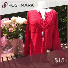 Ann Taylor Bright burnt red netted Ann Taylor tunic, summer color divine. It's light, cool and looks chic as a swim cover as well!. Great to perfect condition! 100% polyester! Ann Taylor Tops Tunics