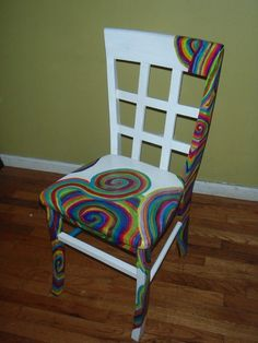 - Not totally in love with this chair, but I like the asymmetrical design idea #PaintedChair