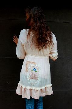 REVIVAL Upcycled Boho Shirt Shabby Chic Junk Gypsy Country Girl Farm Girl style