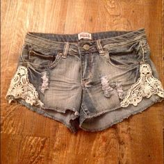 Lace shorts Denim blue shorts with lace details Mudd Shorts Jean Shorts
