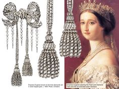 French Crown Jewel! This old mine and old European-cut diamond openwork sculpted bow diamond brooch belonged to Empress Eugénie. 1885