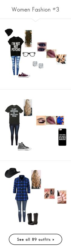 """""""Women Fashion #3"""" by spirit-wolfy ❤ liked on Polyvore featuring WithChic, Converse, Patagonia, Muse, Hot Topic, Casetify, Topshop, Ariat, Bailey Western and Junk Food Clothing"""