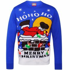 A very intricate Christmas jumper detailing Santa's struggle down the chimney! Inscribed with a traditional, 'HO HO HO MERRY CHRISTMAS' message, this jumper lights up at the flick of a switch and makes for a fantastic novelty jumper for men and women. Merry Christmas Message, Christmas Messages, Light Up Christmas Jumpers, Christmas Sweaters, Sport Casual, Christmas Shopping, Casual Outfits, Santa, Graphic Sweatshirt