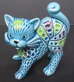 STUNNING Rosenthal Netter Bitossi Italian Ceramic Turquoise CAT 1950 s - 1960 s