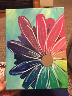 Items similar to Rainbow flower hand made acrylic canvas painting on Etsy Canvas Painting Projects, Cute Canvas Paintings, Easy Canvas Painting, Spring Painting, Acrylic Painting Canvas, Easy Flower Painting, Acrylic Painting Flowers, Simple Acrylic Paintings, Sunflower Art