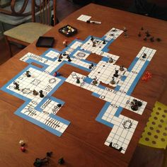"""Blue Dungeon Tiles are double-sided, 1"""" grid, map tiles in old school blue. They work with dry-erase, wet-erase and permanent markers.  Dungeon made from one BASIC tile set"""