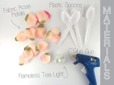 ROSE PEDAL CANDLE Materials: Rose Pedals (why not use silk so that this candle lasts?) Hot Glue Plastic spoons Flameless tea light Here are your directions: I do think that silk pedals would be the best. If you are going to make this, it would be a shame for it to wilt in one day. …