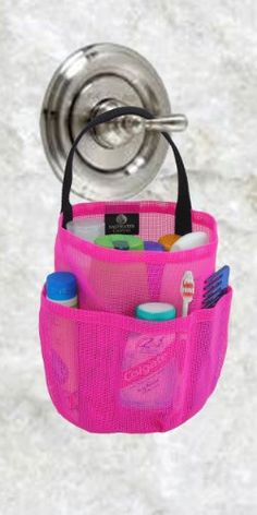 Dorm Shower Caddy Hot Pink Black Straps by Saltwater Canvas | eBay