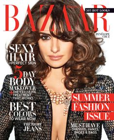 Penelope Cruz flaunts cleavage on the cover of Harper's Bazaar US, May 2012 - My Face Hunter