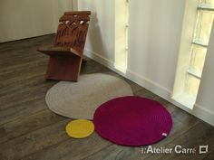 Tapis design ronds encastrés au crochet (Crochet carpet, recessed circles)