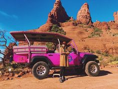 Pink jeep💕💗😘 Sedona, Arizona Visit Arizona, Sedona Arizona, Pink Jeep, Monster Trucks, Explore, Adventure, Instagram, Adventure Movies, Adventure Books