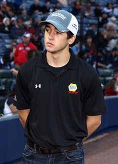 Chase Elliott Photos  NASCAR driver Chase Elliott stands on the field before the game between the Atlanta Braves and the New York Mets at Turner Field on April 9 2014 in Atlanta Georgia.  Atlanta Braves Visit Atlanta Braves, Atlanta Georgia, Chase Elliott Nascar, Visit Atlanta, Turner Field, Ryan Blaney, Beautiful Men Faces, Dale Earnhardt Jr, Derek Jeter