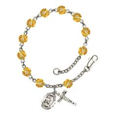 Silver Plate Rosary Bracelet 6mm November Yellow Fire Polished Beads, Crucifix Size 5/8 x 1/4, St. Gerard Majella medal charm *** Click image to review more details.