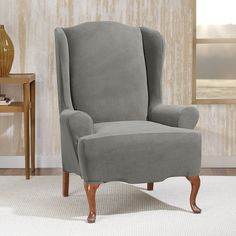 Found it at Wayfair - Stretch Morgan Wingchair T-Cushion Skirted Slipcover