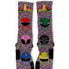 Power Rangers Custom Nike Elite Socks from freshelites. Saved to nike elite socks💪. Nike Elite Socks, Nike Socks, Ugly Socks, Wedding Socks, Mighty Morphin Power Rangers, Sock Shop, Tight Leggings, Crew Socks, Nike Free