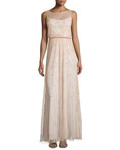 Aidan Mattox Illusion-Neck Beaded Gown, Blush