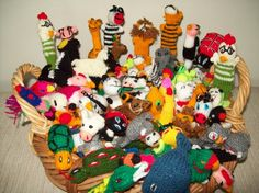 Ten Assorted Finger Puppets-Hand Knitted-Children's Party Pack-Super Value