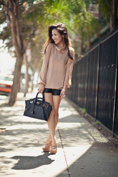 :: Outfit ::    Top :: Soyer  Bottom :: Forever 21 faux leather shorts  Bag :: Marco Tagliaferri  Shoes :: Yves Saint Laurent  Accessories :: YSL ring, Hermes bangle & vintage necklace