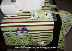 Sewing Caddy with Detachable Snap-On Serger Scrap Bag Tutorial for the sewing caddy at howjoyful.com. For the additional scrap bag, according to Tera, the bag is a basic square bottom with boning instead of a drawstring in half the casing. sew the straps on, and add snaps.