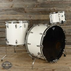 Ludwig 6 Ply 12/16/24 3pc Drum Kit White Cortex 70s USED
