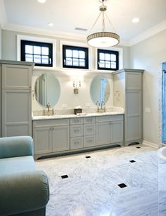 Tall cabinets at ends of sink vanity