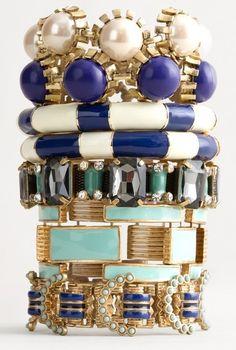 Blue White & Turquoise Bangles <3