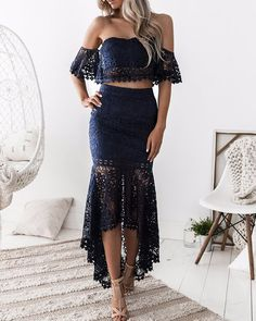 Hollow Out Lace Mermaid High-Low Hem Skirt Sets New Arrival Bikinis, Jumpsuits, Dresses, Tops, High Heels on Sale. Refresh Your Picks Now. Vestido Crop Top, Crop Top Dress, Lace Skirt, Lace Dress, Waist Skirt, Mermaid Skirt, Lace Mermaid, Lace Crop Tops, Two Piece Dress