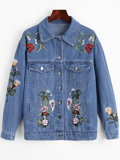 Shop for Floral Patched Pockets Denim Jacket BLUE: Jackets & Coats S at ZAFUL. Only $38.99 and free shipping!