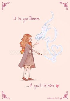 Geeky Valentines Cards!    Expecto Patronum - I'll be yours if you'll be mine!    Valentines Card for sale on Redbubble here!    http://www.redbubble.com/people/aliciamb/works/9932326-be-my-patronus?p=greeting-card    (Big thank you hugs to my mum for helping me turn the original weird-cat-mammal thingy I had drawn into something that actually looked like an otter! Love you, Mum!)