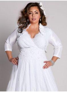 casual plus size wedding dress with satin cropped jacket from igigi