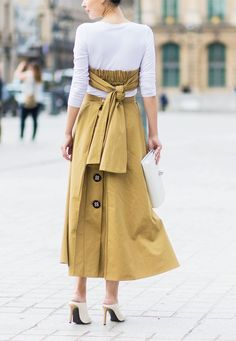 Paris Fashion Week Haute Couture street style: Khaki dress