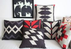 Vintage Geometric print cushion cover /linen pillow case (45cm x 45cm)