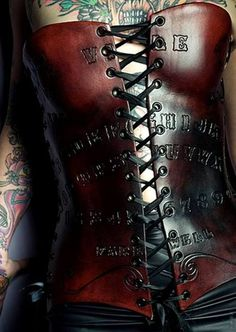 leather Ouija Board corset..I think I know a few people who will like and/or repin this!