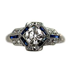 Art Deco Platinum Old European Cut Diamond and Sapphire Engagement Ring Circa Early 1900's