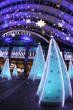 Christmas illumination in Hakata station