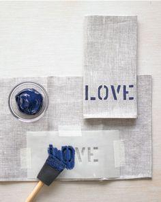 DIY   Love stenciled napkins