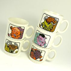 RARE Vintage 60s 70s English Ironstone Beefeater Psychedelic Cow Cups. $54.99, via Etsy.