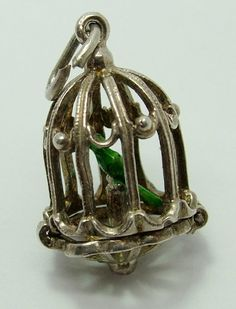 1960's Silver Opening Birdcage Charm Green Bird on a Perch Inside 32gbp