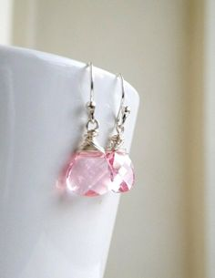 Swarovski Crystal Earrings Pale Pink  Wire Wrapped by SomsStudio, $28.00