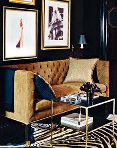 look how gorgeous this room is...sophisticated navy ,camel and gold