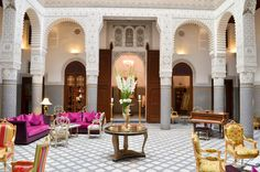 An opulently designed hotel, Riad Fès combines hand carved furniture and internal patios to create traditional medina grandeur. Riad Fes, Le Riad, Chateau Hotel, Morocco Itinerary, Outdoor Furniture Sets, Outdoor Decor, Day For Night, Ultimate Travel, Weekend Trips