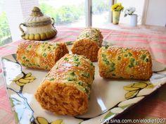 Asian-style Pork floss & shallot bread rolls